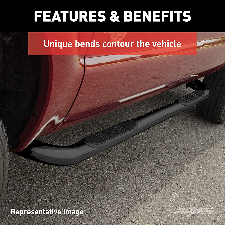 3500 HD 2500 GMC Sierra 1500 ARIES 204045 3-Inch Round Black Steel Nerf Bars Select Chevrolet Silverado