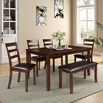 Amazon Com Merax 6 Piece Dining Set Kitchen Table Set With Bench And 4 Pu Leather Upholstery Padded Chairs Espresso Table Chair Sets