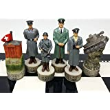 World War 2 WW2 Set of Chess Men Pieces Hand Painted - NO Board