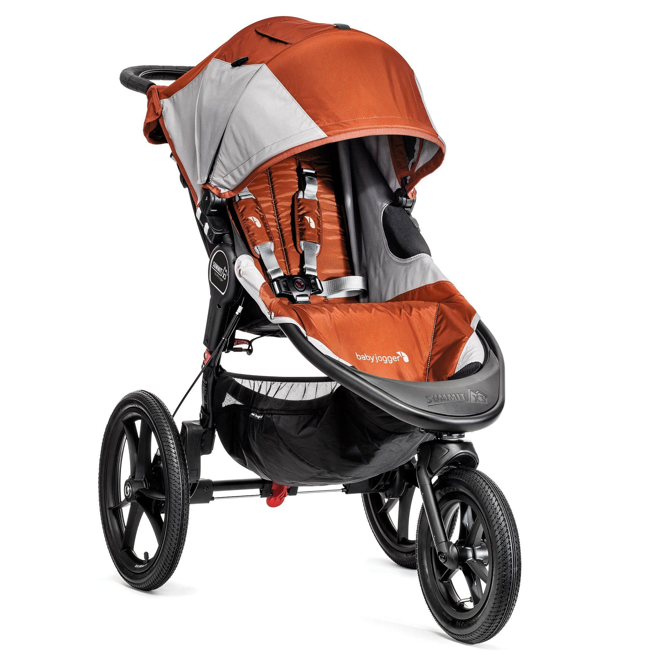 Baby Jogger Summit X3 Single Stroller, Orange/Gray