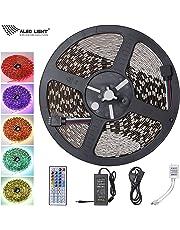 ALED LIGHT 10M 5050 RGB 600 LED Luces de Tira Cambiantes de Color con 44K Mando a Distancia IR + Adaptador de Corriente de 24V 3.5A para El Hogar y La cocina Iluminación Decorativa
