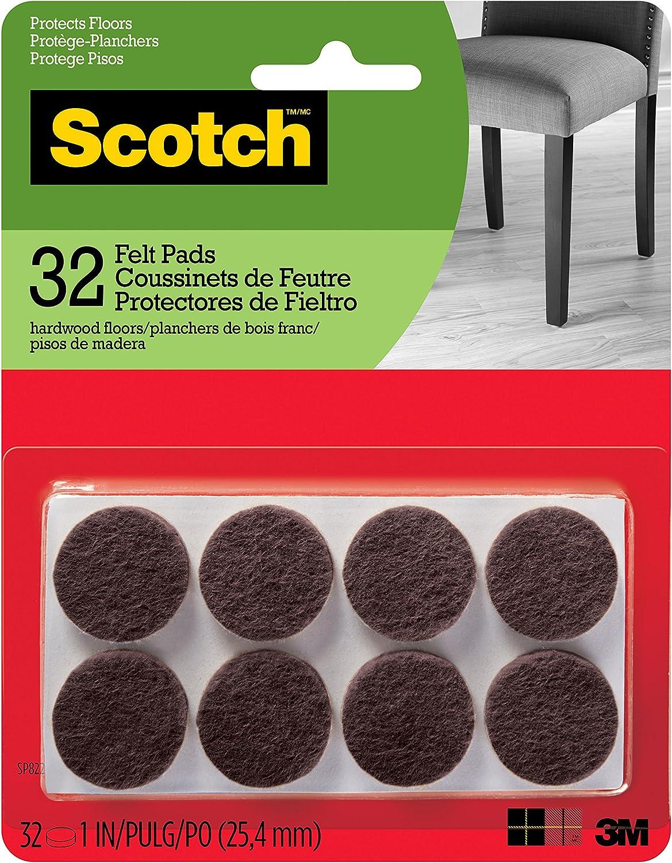 Scotch Brand SP822-NA Scotch Felt Pads Round, 1 in. Diameter, Brown, 32/Pack