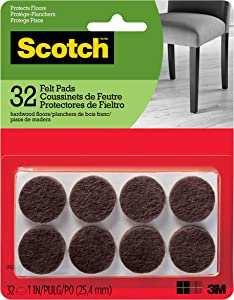 Scotch Brand SP822-NA Scotch Felt Pads Round, 1 in. Diameter, Brown, 32/Pack