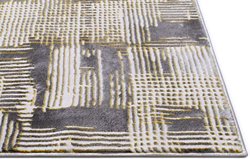 Canny Grey Yellow Modern Geometric High-Low Pile Area Rug 3×5 3 11 x 5 3 Abstract Washed Out Boxes Carpet