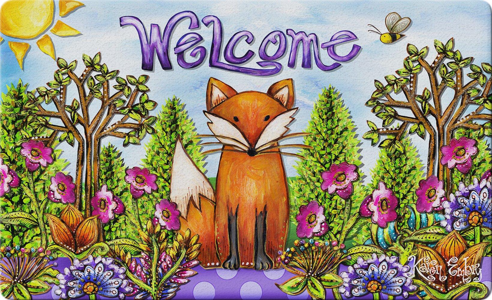 Toland Home Garden Welcome Fox 18 x 30 Inch Decorative Animal Floor Mat Summer Floral Doormat