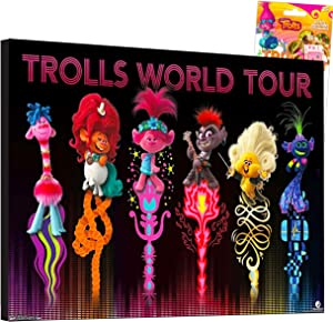 "Trolls World Tour Poster Print Wall Art Bundle ~ Deluxe Trolls Mounted Print Poster for Girls Kids (8"" X 12"") with Stickers (Trolls Party Decorations Room Decor)"
