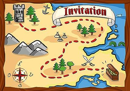 Carte Anniversaire Pirate.12 Cartes D Invitation Anniversaire Enfant Theme Les Pirates Cartes Invitations Filles Garcons Enfants Carte Invitation Carte Chasse Au Tresor