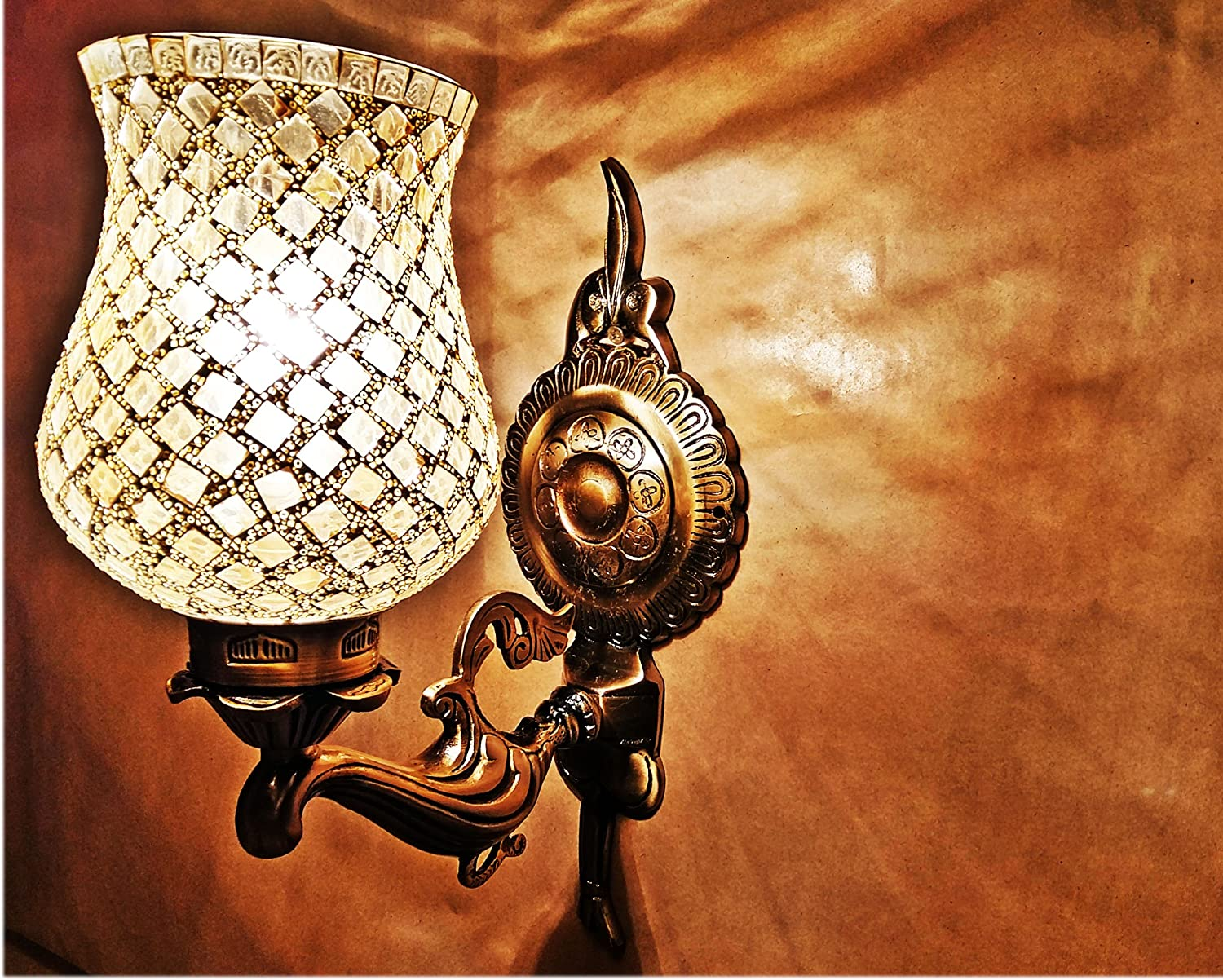 Handicraft Kottage 1 Glass Wall lamp with Mirror Work with Brass and Aluminium Mix Fixture