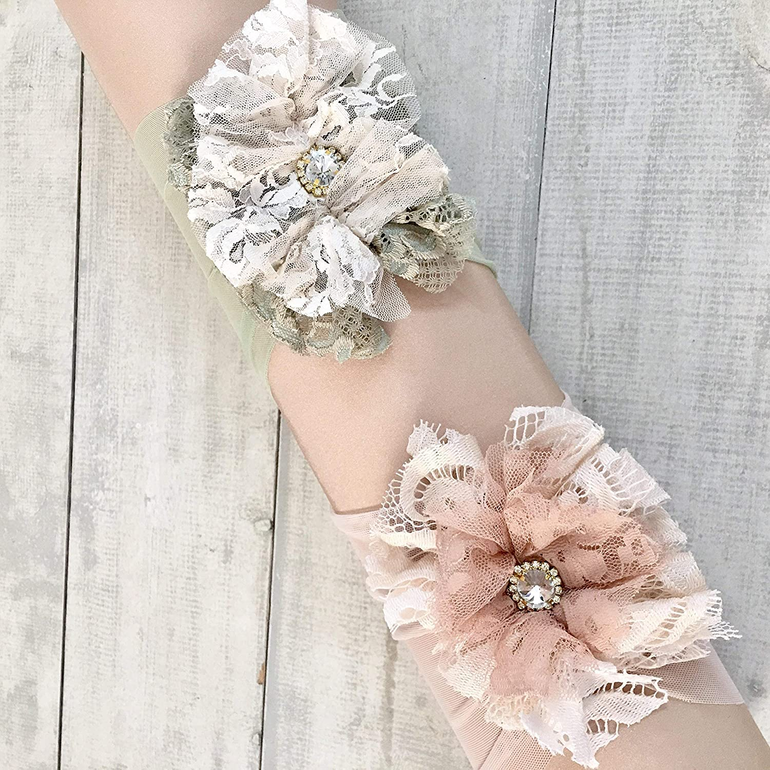 Unique Flower Newborn Headbands Set Of 2 By Yasmine Layani| Headbands with fabric flowers and Rhinestones