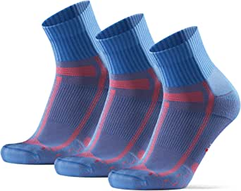 DANISH ENDURANCE Calcetines de Running Largas Distancias, para Hombre y Mujer, Acolchados, Transpirables, Calcetines de Atletismo con Compresión de Arco, Anti-Rozaduras, Maratón, Negro, Pack de 3