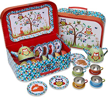 14 Piece Tea Set for Kids Woodland Animals Kids Tin Tea Set /& Carry Case ...