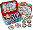 Woodland Animals Metal Tea Set & Carry Case Toy (14 Piece Tea Set for Children) Red, Blue, Green Tea Set Toy