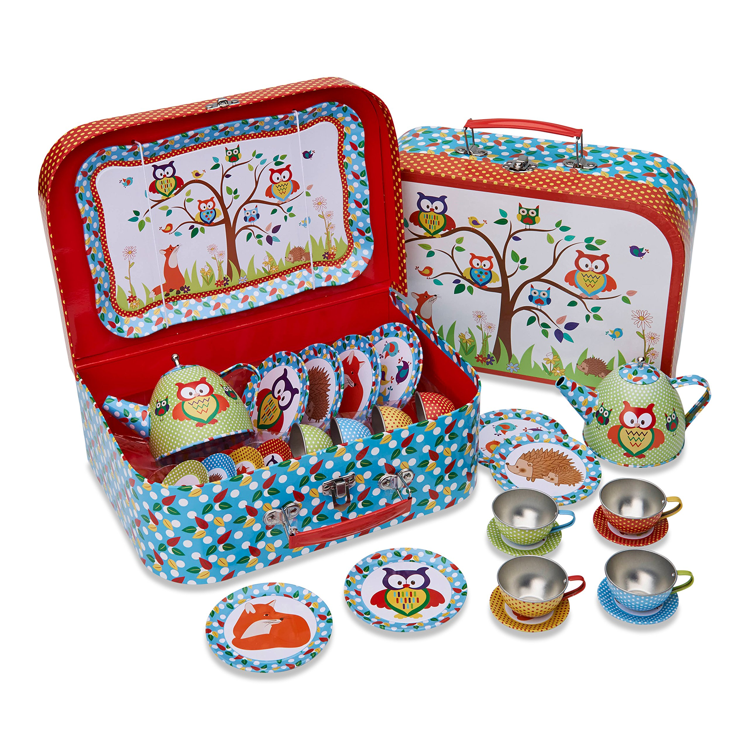 Lucy Locket Woodland Animals Kids Tin Tea Set & Carry Case (14 Piece Tea Set for Kids) by Lucy Locket
