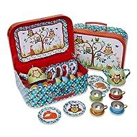 """Dinette métal en valisette """"Animaux des bois"""" - 14 pièces service de thé pour enfants - Slimy Toad"""
