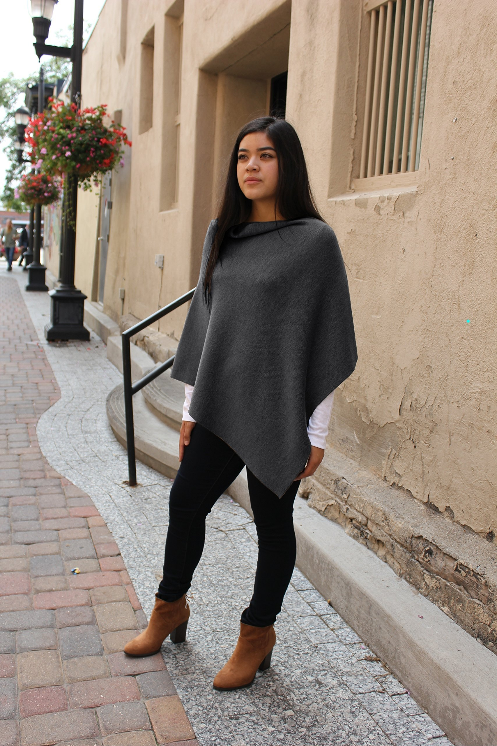 Emji 100% Cashwool® Merino Wool Fine Double Knit, Luxury Pullover Poncho, Fine Double Knit Poncho, Dark Gray