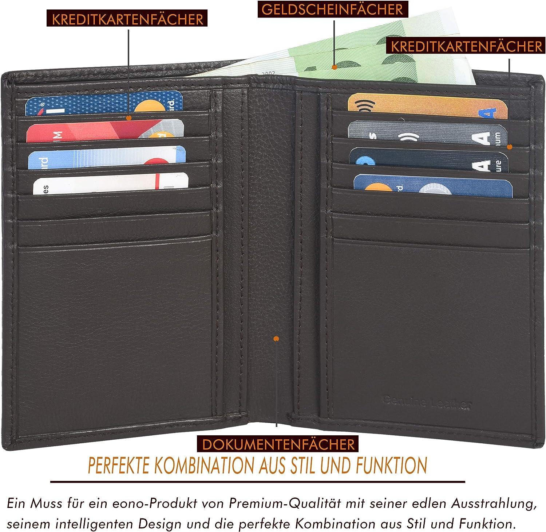 /… Design Plat avec Fonction de Protection Contre la Lecture RFID Cuir de Vachette Nappa Marron Eono par  Portefeuille en Cuir pour Hommes et Femmes