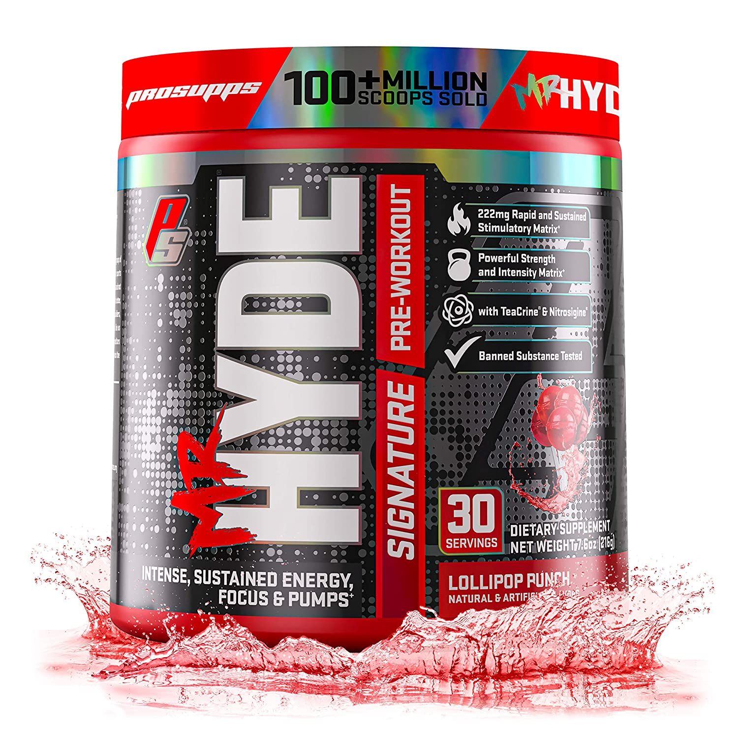 ProSupps Mr. Hyde Signature Series Pre-Workout Energy Nitric Oxide Boosting Drink Sustained Energy, Focus Pumps with Beta Alanine, Creatine, Nitrosigine TeaCrine 30 Servings Lollipop Punch