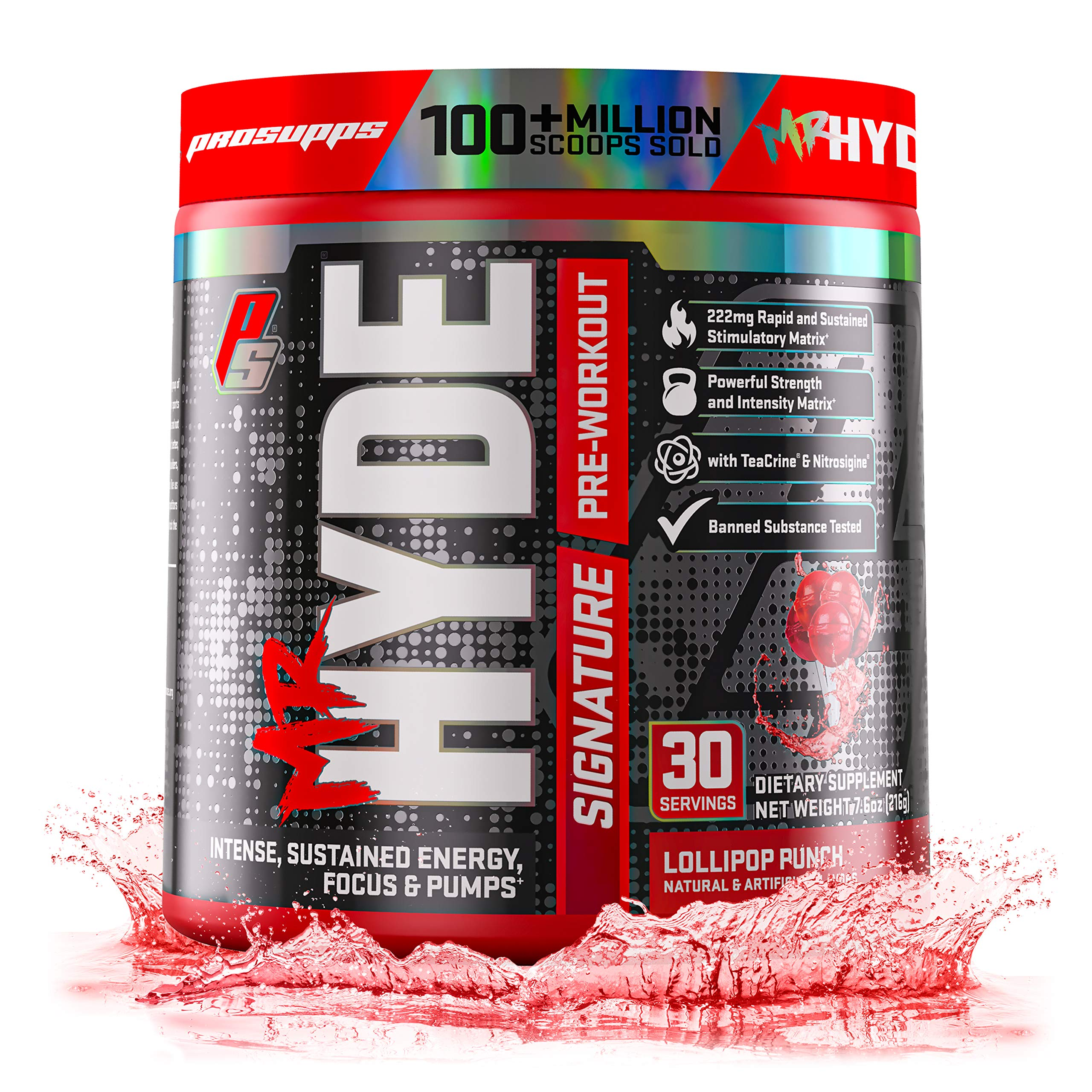 ProSupps Mr. Hyde Signature Series Pre-Workout Energy & Nitric Oxide Boosting Drink - Sustained Energy, Focus & Pumps with Beta Alanine, Creatine, Nitrosigine & TeaCrine - 30 Servings (Lollipop Punch) by PROSUPPS