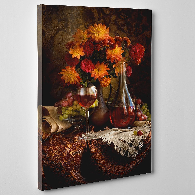 ConKrea Cuadro sobre lienzo–ConKrea–Listo para colgar–Bodegón con flores otoñales, flores, vino, Mantel–Flowers