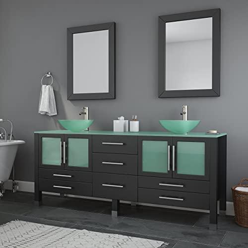 ARIEL Hamlet F073D-AB-WHT 73 Inch Solid Wood Double Rectangular Sink Bathroom Vanity Set in White with Absolute Black Granite Countertop
