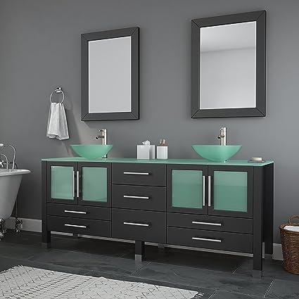 . 71 Inch Espresso Modern Bathroom Double Vanity Set Lafayette  Brushed  Nickel Faucets