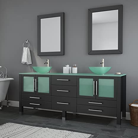 huge discount 9201f 849a6 71 Inch Espresso Modern Bathroom Double Vanity Set-Lafayette (Brushed  Nickel Faucets)