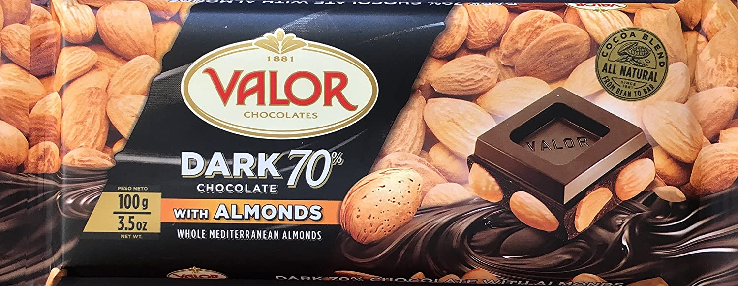 Amazon.com : Valor Dark 70% Chocolate With Whole Mediterranean Almonds (3.5oz / 100g) - Product Of Spain - Gluten Free : Grocery & Gourmet Food