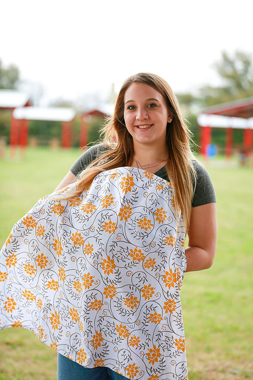 Extra wide FREE Bonus Matching Pouch 100/% cotton Premium Quality Nursing Breastfeeding cover with pockets