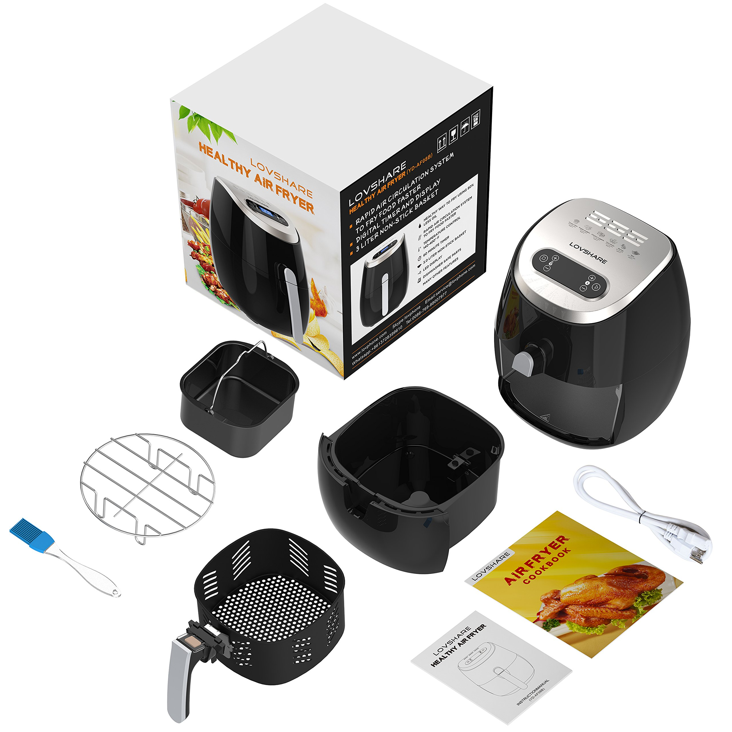 Air FryerLOVSHARE Touch Screen Control Oil Free Electric Air Fryer with Rapid Air Circulation Technology, Digital Display Smart Programs with Automatic and Manual Timer & Temperature Controls,3L by LOVSHARE (Image #8)