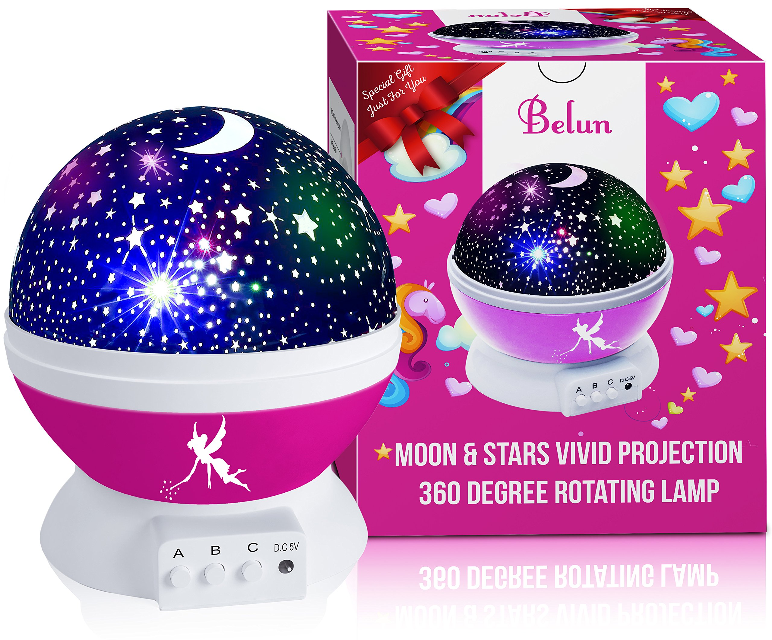 Kids Night Light for Girls, Boys, Babies, Toddlers, 4 LED Bulbs Moon Star Projector Night Light Lamp for Kids Bedroom, Nursery -Bonus Wall Charger, 4.9 ft USB Cable, Best Gift Idea Ever (Pink)
