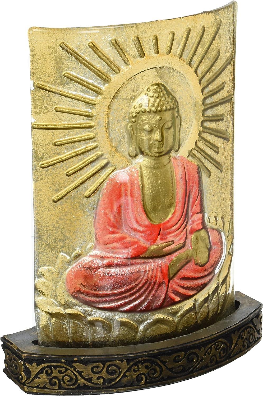 Buddha Statue Glass Tea Light Meditating Sunshine Asian Statue Sculpture Table Art Decor D13352