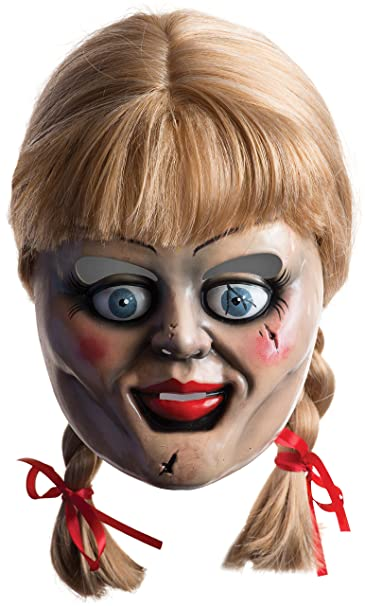 amazon com rubie s men s annabelle horror mask with wig multicolor