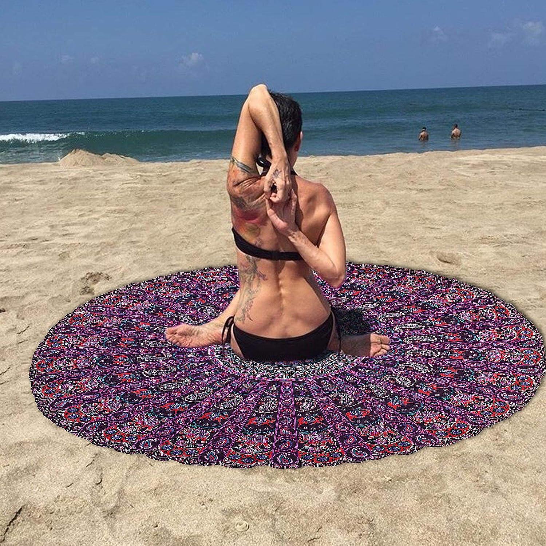 Amazon.com: Mandala Roundie púrpura impreso de la playa Yoga ...