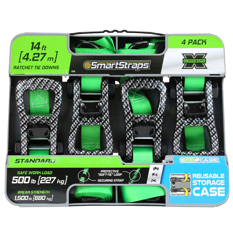 SMARTSTRAPS 238 CarbonX Green 10 1,500 lbs Capacity Premium Tie Down, Pack of 2