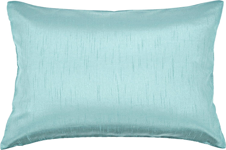 Amazon Com Aiking Home Solid Faux Silk Decorative Pillow Cover Zipper Closure 12 By 18 Inches Aqua Home Kitchen