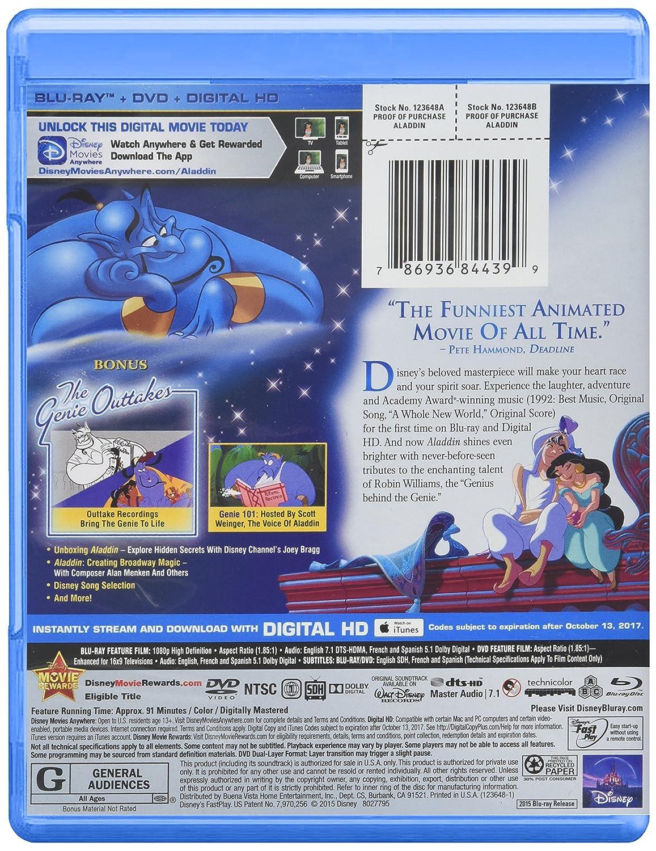 Amazon com: Aladdin: Diamond Edition (Blu-ray/DVD/Digital HD): Robin