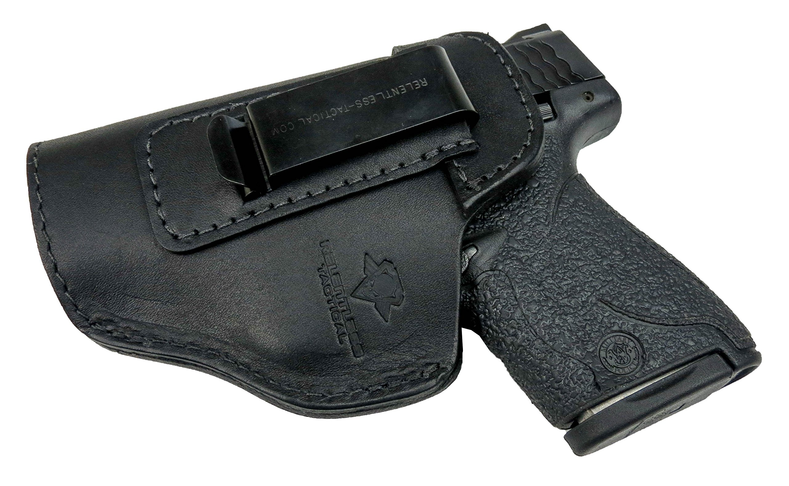 Relentless Tactical The Defender Leather IWB Holster - Made in USA - for S&W M&P Shield - Glock 17 19 22 23 32 33/Springfield XD & XDS/Plus All Similar Sized Handguns - Black - Left Handed by Relentless Tactical