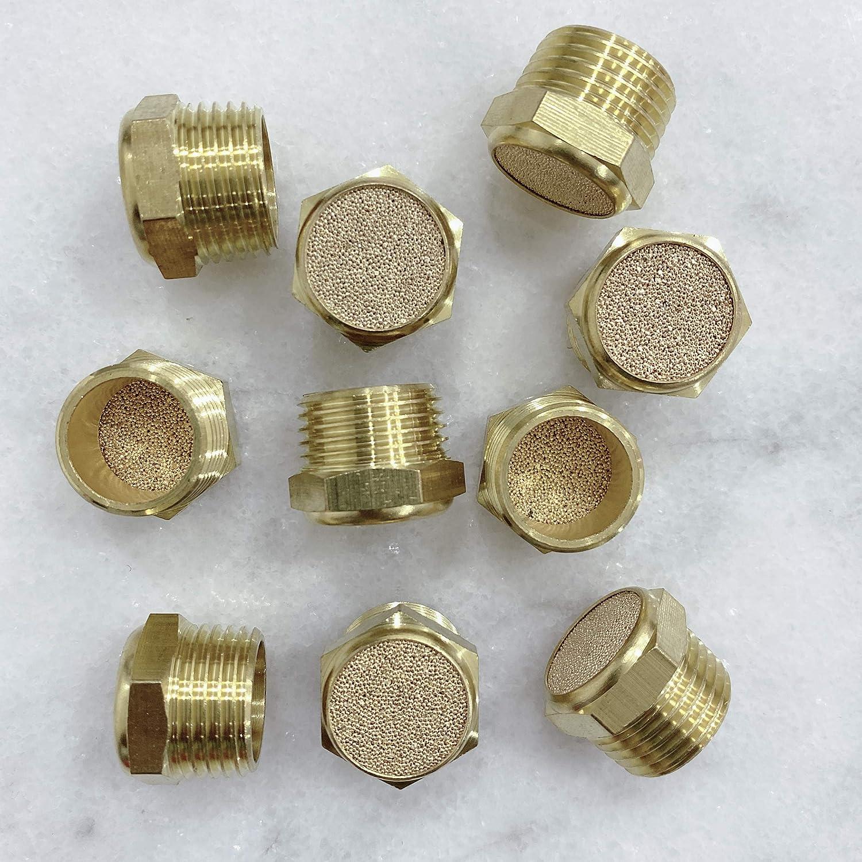 Pack of 10 MacCan Pneumatic BSLM-N2 Sintered Bronze Exhaust Flat Head Muffler 1//4 NPT Thread Brass Body
