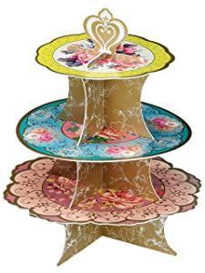 Talking Tables Truly Scrumptious Tea Party Floral Cake Stand Height 36cm, 14""