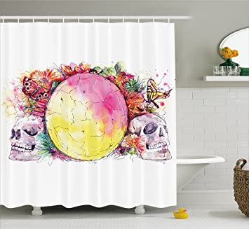 Skull Decorations Shower Curtain By Ambesonne Ornate Skeletons With Eastern Egg And Flower Butterfly Calavera