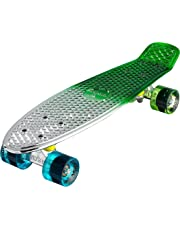 (60cm , Gunmetal/Green) - Ridge Skateboards Neochrome Mini Cruiser Complete Skateboard