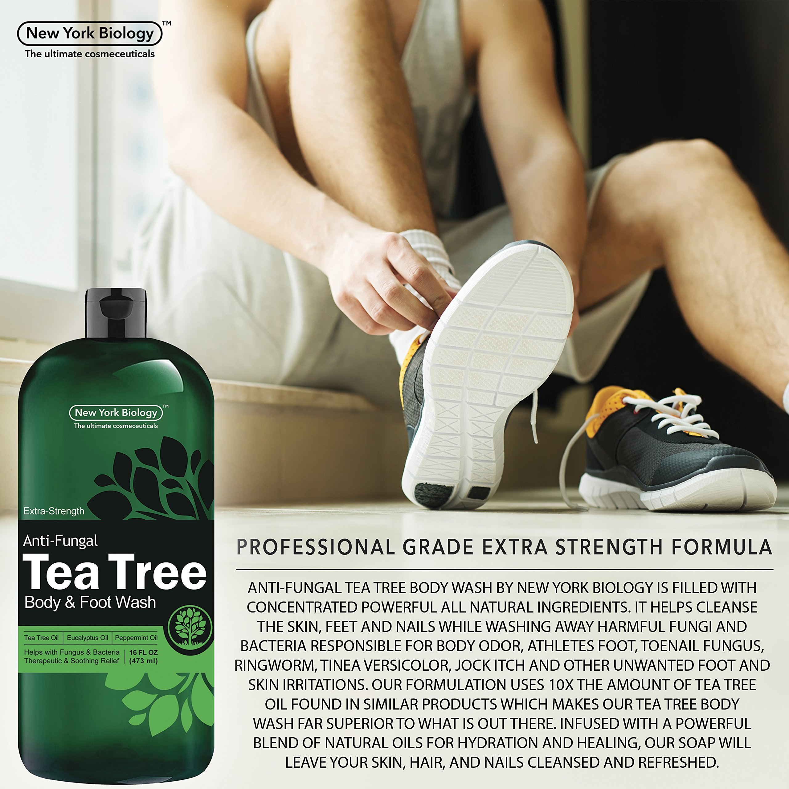 Antifungal Tea Tree Oil Body Wash – HUGE 16 OZ – 100% Pure & Natural - Extra Strength Professional Grade - Helps Soothe Toenail Fungus, Athlete Foot, Body Itch, Jock Itch & Eczema by New York Biology (Image #4)