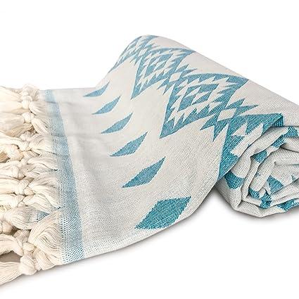 f5d967e74 Amazon.com: ZesteDesign Large Cotton Turkish Bath Towel Tribal Aztec Design  (67x33, Turquoise): Home & Kitchen