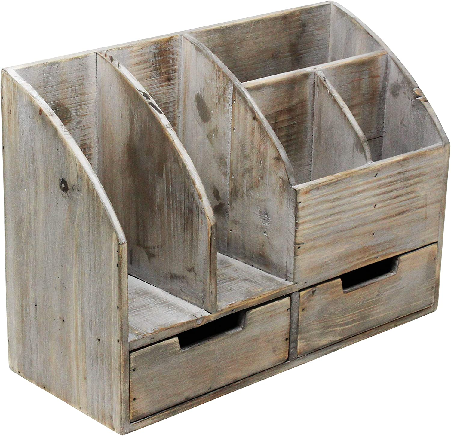 or Mail or Counter Tabletop Vintage Rustic Wooden Office Desk Organizer /& Mail Rack for Desktop Distressed White Washed Torched Wood for Office Supplies Desk Accessories