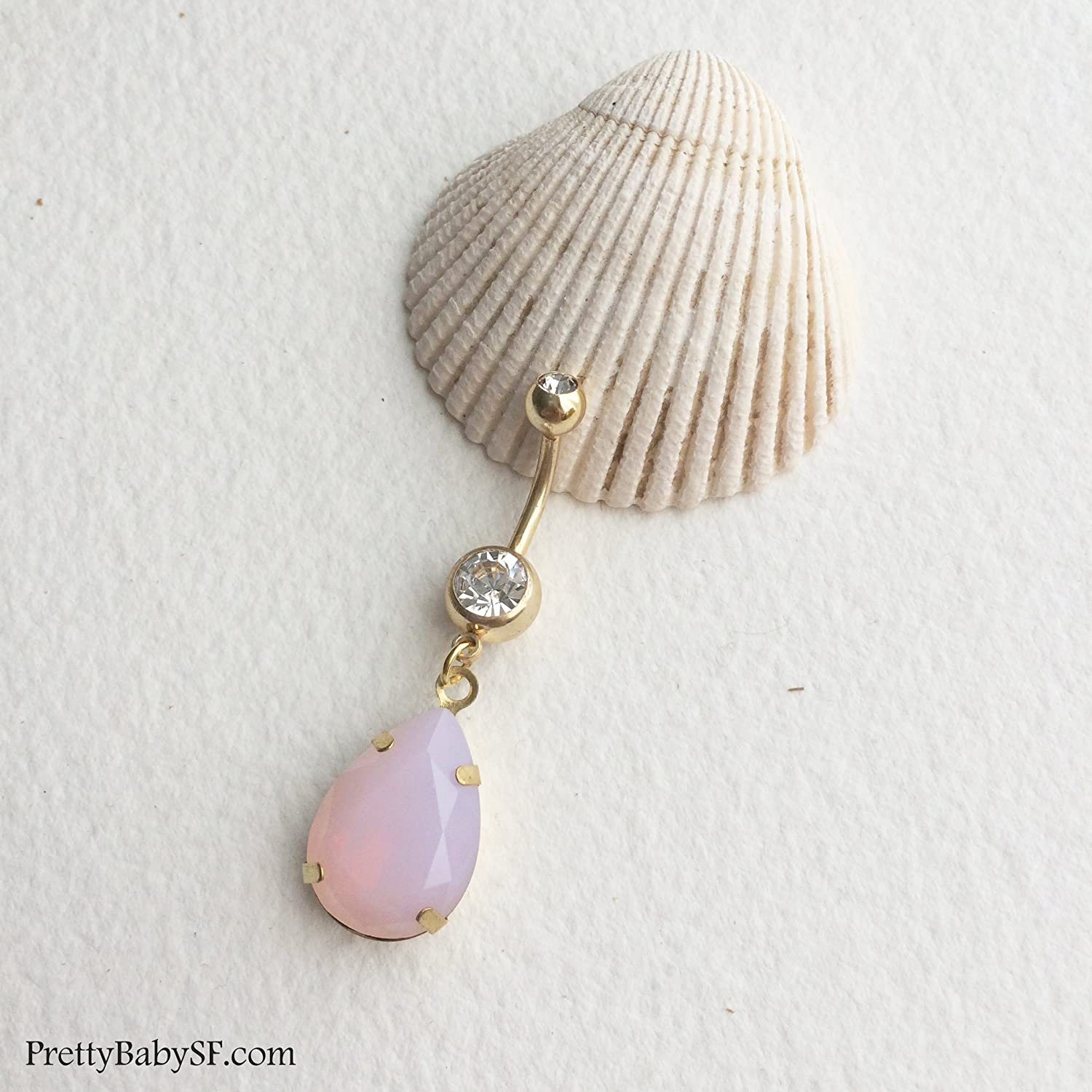 Amazon Com Pink Belly Button Ring Gold Belly Ring Rose Quartz