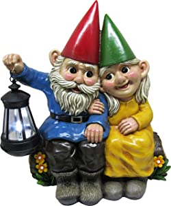 DWK 13.85-inch Light of Our Love Garden Gnome Couple Solar Lantern Best Friends Collectible Statue for Indoor Outdoor Garden and Home Decor