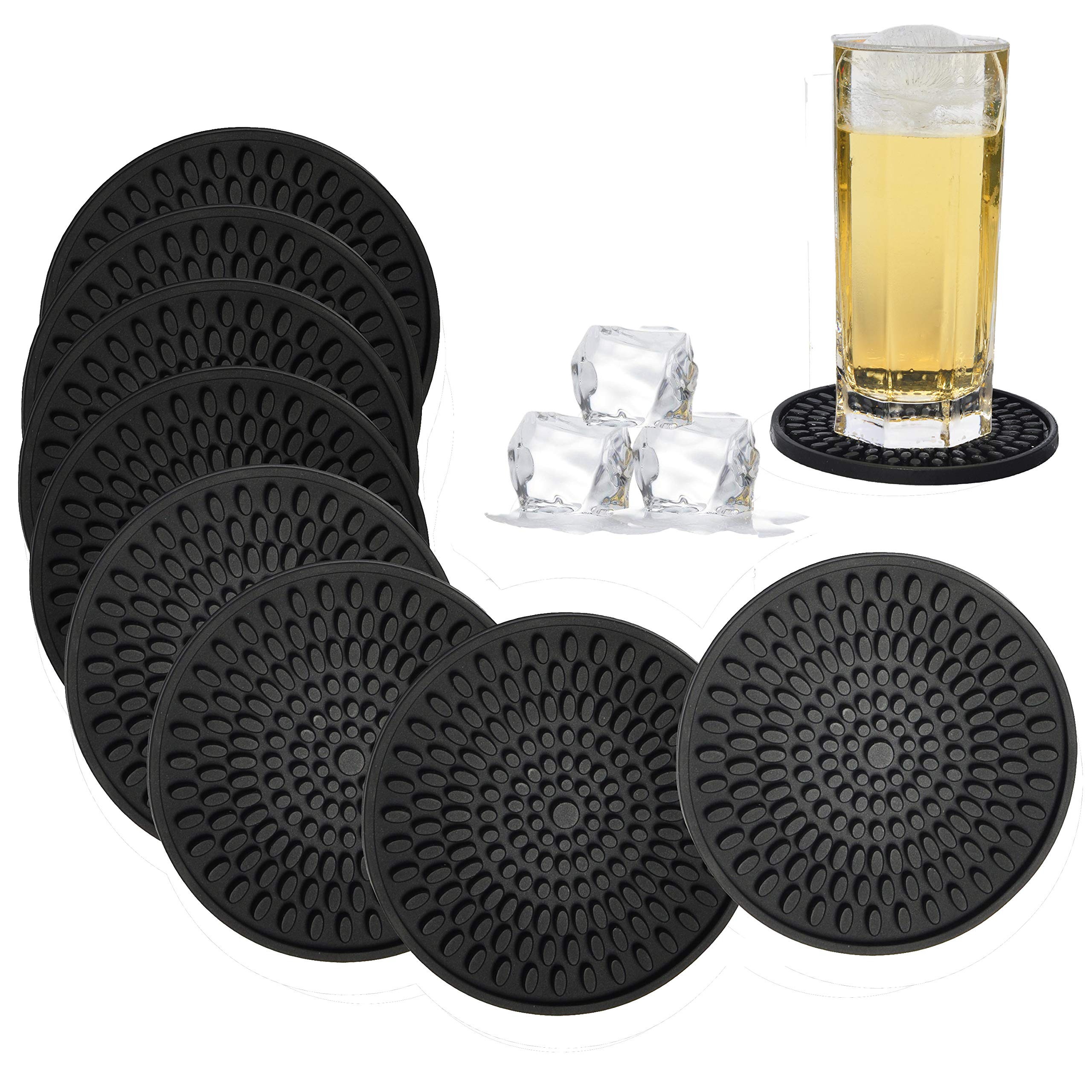 Coasters for Drinks Black, Absorbent Rubber Coaster Set, Silicone Drink Coasters for Large Mug/Cup/Bottle, Deep Tray 4.3 Inch Oval Shape Jar Opener Heat-Resistant Grips (Set of 8)