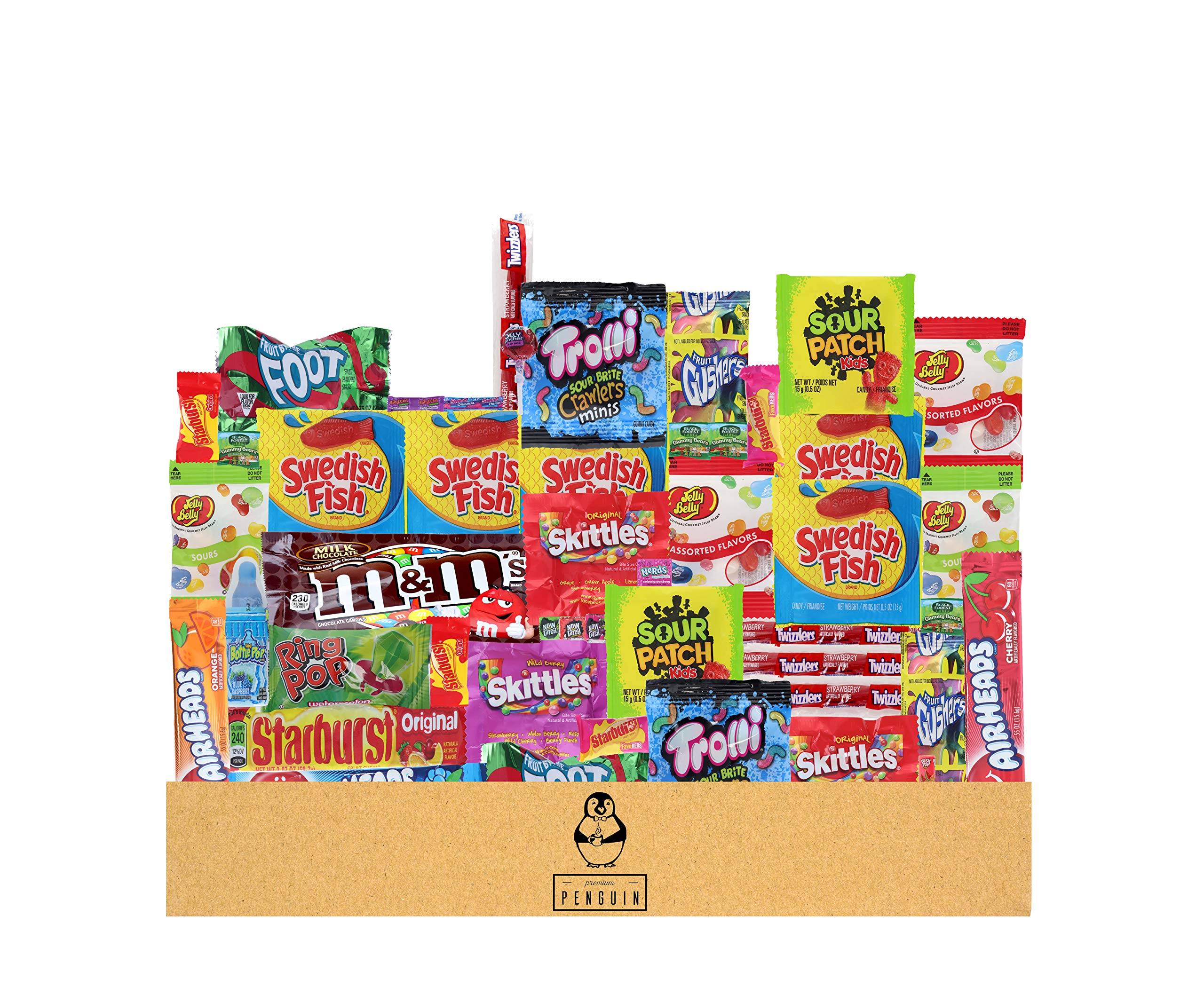 Bulk Assorted Candy Care Package - (50 count) A Sampler of Skittles, Sour Patch Kids, Starburst, M&M's, Twizzlers, Sweet Tarts, and More! Great for Movie Night, Sleepovers, and Goodie Bags! by Premium Penguin