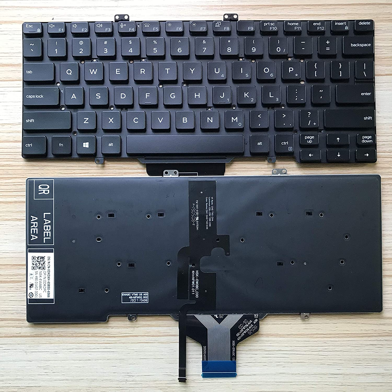 KB US Layout Notebook Keyboard for DELL Dell Latitude 14 5400 5401 7400 L3400 7410 5402 Series Black No Frame, with Backlight, no Joystick 7400