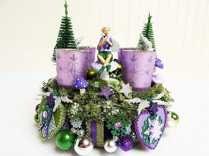 Weihnachtsdeko Lila Silber.Romantischer Adventskranz Elfenmelodie Bunt Luxus Christmas